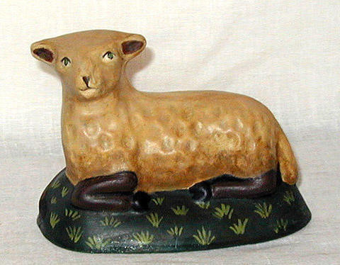 Chalkware Sheep handcrafted from an antique chocolate mold