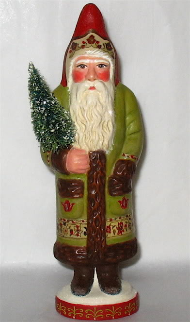 Bittersweet House  Chalkware Santa from antique chocolate mold